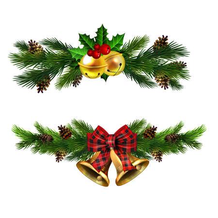 Christmas decorations with fir tree golden jingle bells Stockfoto - 133489089