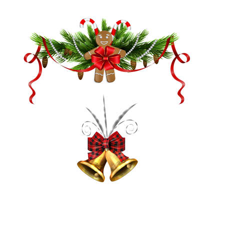 Christmas decorations with fir tree golden jingle bells Stockfoto - 133489114