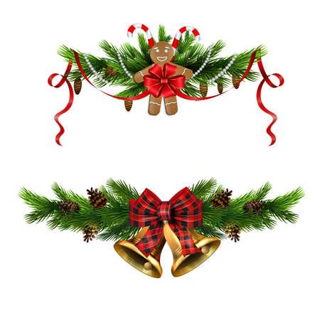 Christmas decorations with fir tree golden jingle bells Stockfoto - 133489116