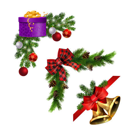 Christmas decorations with fir tree golden jingle bells Stockfoto - 133489117