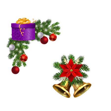 Christmas decorations with fir tree golden jingle bells Stockfoto - 133489131