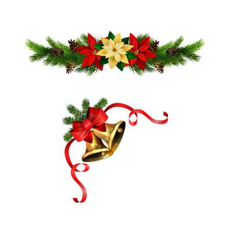 Christmas decorations with fir tree golden jingle bells Stockfoto - 133489173
