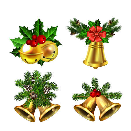 Christmas decorations with fir tree golden jingle bells Stockfoto - 133489176