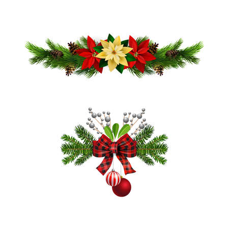 Christmas decorations with fir tree and decorations Stockfoto - 133489175