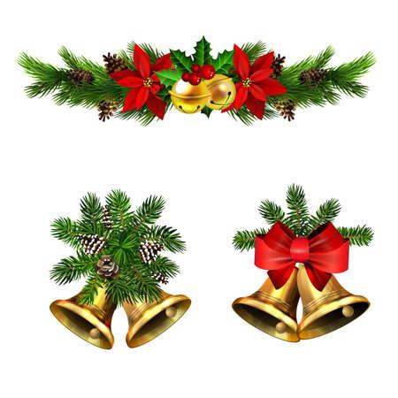 Christmas decorations with fir tree golden jingle bells Stockfoto - 133489178