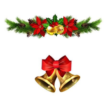 Christmas decorations with fir tree golden jingle bells Stockfoto - 133489177
