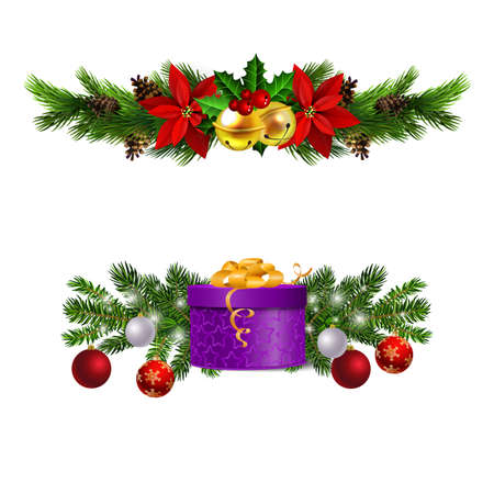 Christmas decorations with fir tree golden jingle bells Stockfoto - 133489180
