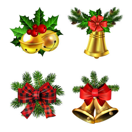 Christmas decorations with fir tree golden jingle bells Stockfoto - 133489186