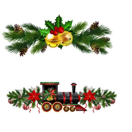 Christmas decorations with fir tree golden jingle bells Ilustração