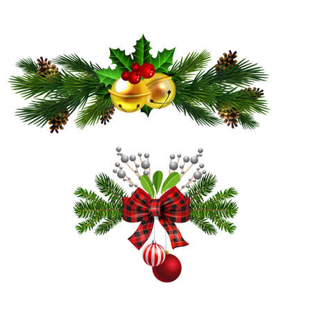 Christmas decorations with fir tree golden jingle bells Stockfoto - 133489190