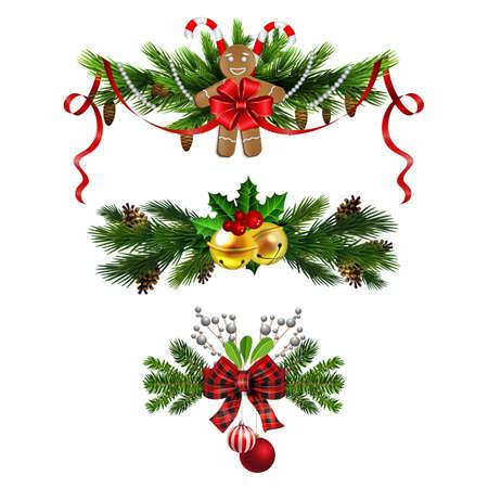 Christmas decorations with fir tree golden jingle bells Stockfoto - 133489189