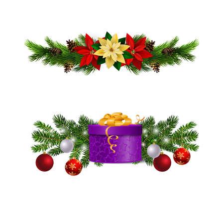 Christmas decorations with fir tree and decorations Ilustração