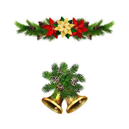 Christmas decorations with fir tree golden jingle bells Stockfoto - 133489194