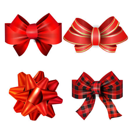 Big set of red gift bows with ribbons. Vector