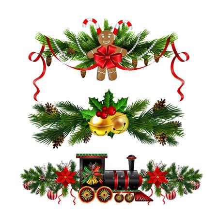 Décorations de Noël avec des cloches de jingle d'or de sapin