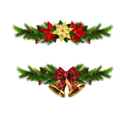 Christmas decorations with fir tree golden jingle bells Stockfoto - 133489203
