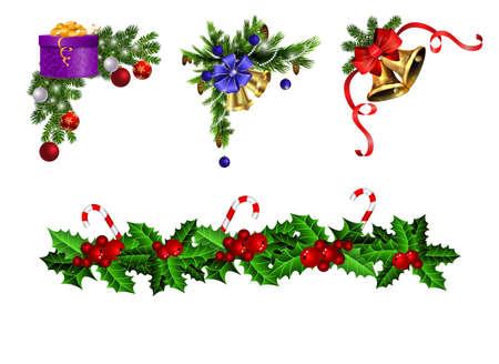 Christmas decorations with fir tree golden jingle bells Stockfoto - 133489200