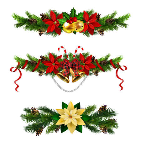 Christmas decorations set with fir tree golden jingle bells and decorative elements. Vector illustration Stockfoto - 133489205