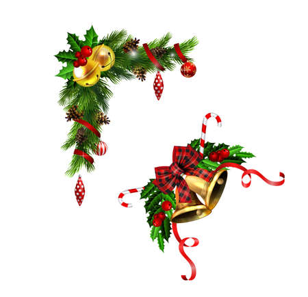 Christmas decorations set with fir tree golden jingle bells and decorative elements. Vector illustration Stockfoto - 133489206