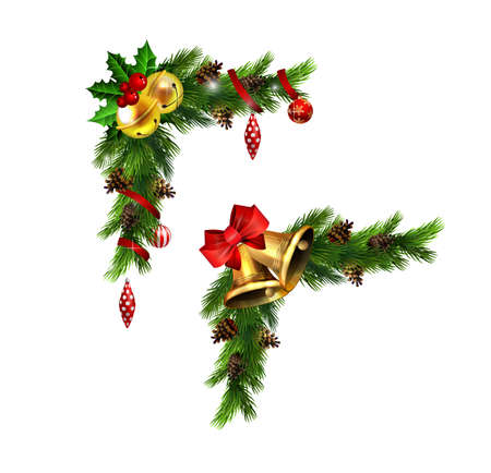 Christmas decorations set with fir tree golden jingle bells and decorative elements. Vector illustration Stockfoto - 133489210