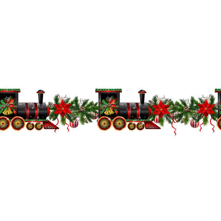 Little Christmas train seamless pattern decorated red ribbon Vector Illustration