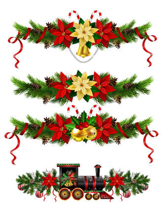 Christmas decorations with fir tree golden jingle bells Vector Illustration