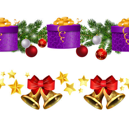 Christmas decorations with fir tree and decorations seamless border