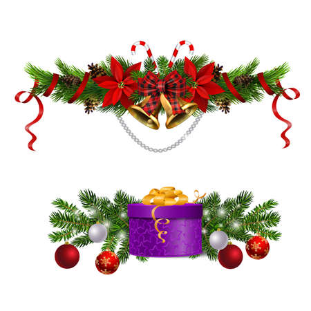 Christmas decorations with fir tree golden jingle bells Banco de Imagens - 134286666