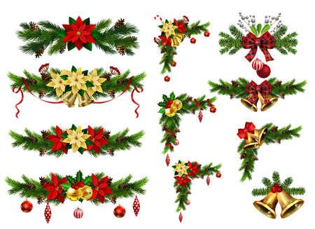 Adornos navideños con cascabeles dorados de abeto