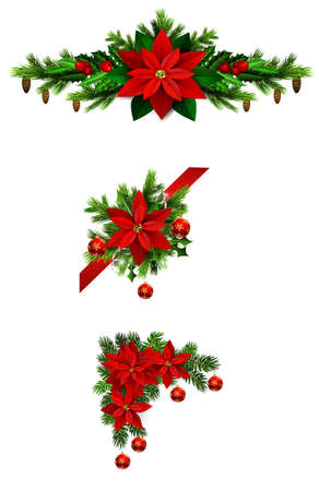 Christmas decorations set with fir tree and decorative elements. Vector illustration