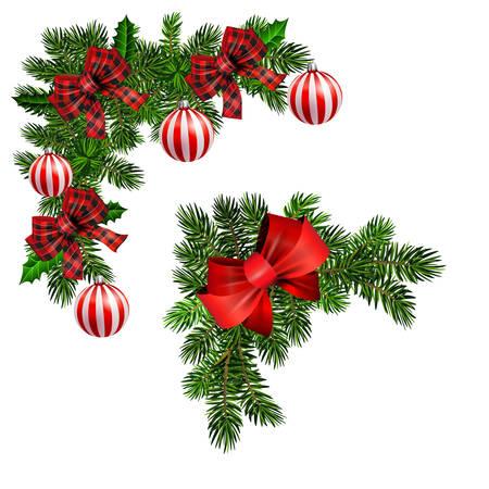 Kerstversiering met dennenboom gouden jingle bells