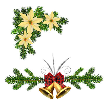 Christmas decorations with fir tree golden jingle bells Illustration