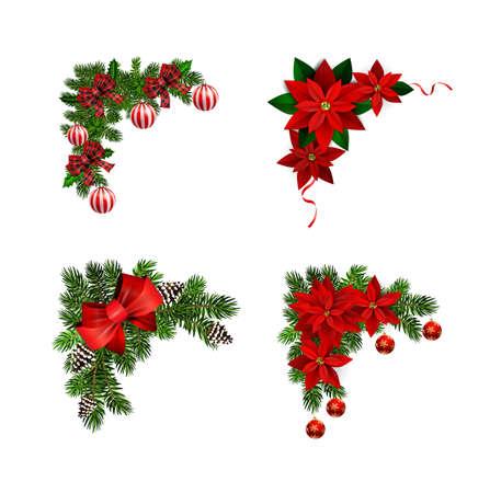 Decorazioni natalizie con collezione di abeti isolati