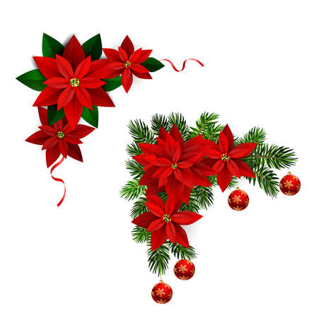 Christmas decorations with fir tree collection isolated