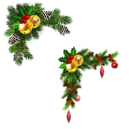 Christmas decorations with fir tree golden jingle bells Ilustracja