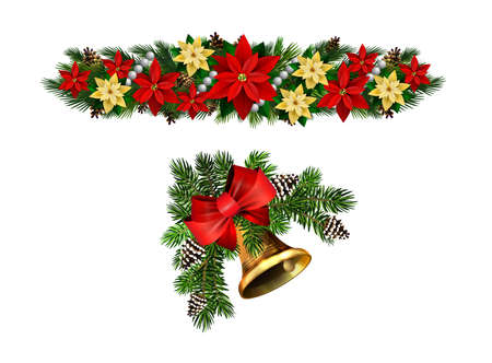 Christmas decorations set with fir tree golden jingle bells and decorative elements. Vector illustration
