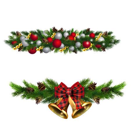 Adornos navideños con cascabeles dorados de abeto y elementos decorativos. Ilustración vectorial