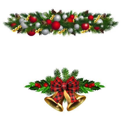Christmas decorations with fir tree golden jingle bells Standard-Bild - 134808460