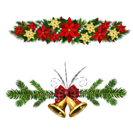 Vector Christmas Fir Decoration set isolated on white background
