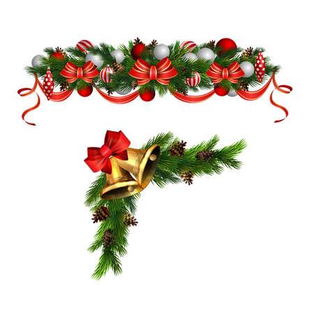 Christmas decorations with fir tree golden jingle bells Standard-Bild - 134808462