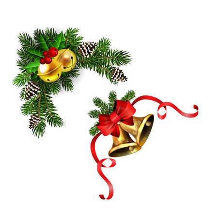 Christmas decorations with fir tree golden jingle bells Standard-Bild - 134808468