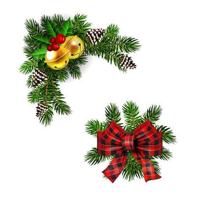 Christmas decorations with fir tree golden jingle bells Standard-Bild - 134808470
