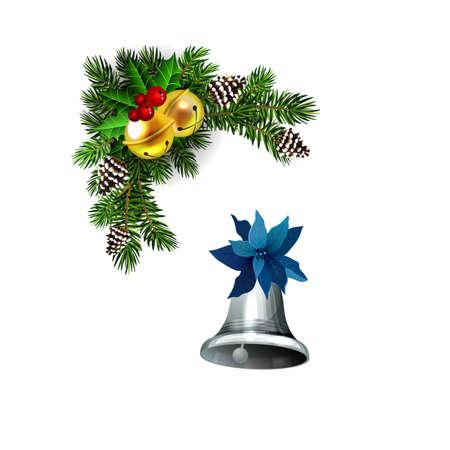 Christmas decorations with fir tree golden jingle bells Standard-Bild - 134808471