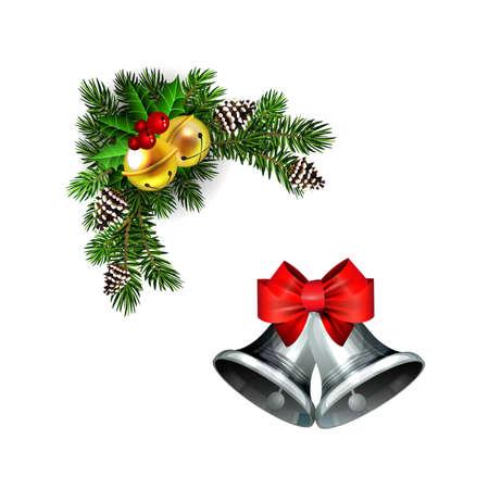 Christmas decorations with fir tree golden jingle bells Standard-Bild - 134808472