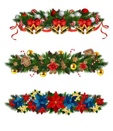 Christmas decorations with fir tree golden jingle bells Standard-Bild - 134808474