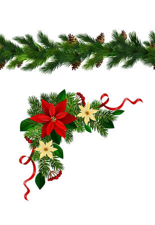 Vector Christmas Border collection with ever greens and flowers isolated on white