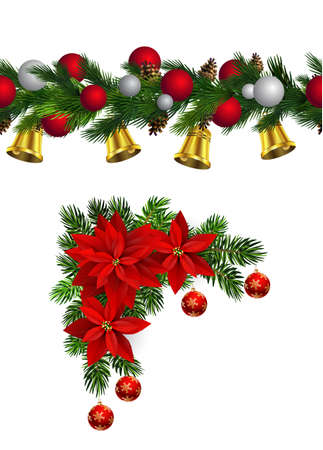 Vector Christmas Border collection with bells isolated on white Çizim