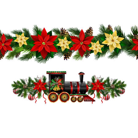 Vector Christmas Border collection with train isolated on white Çizim