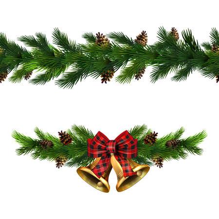 Collection de frontière de Noël de vecteur avec des cloches isolées sur blanc