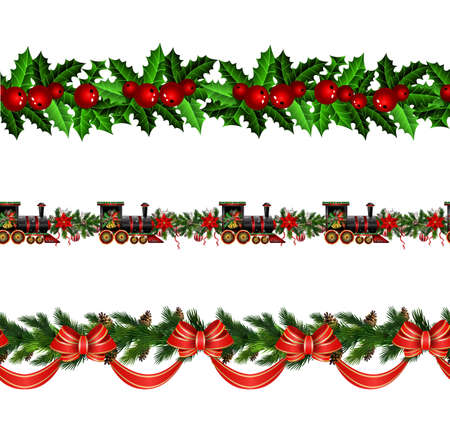 Vector Christmas Border collection with pinecones isolated on white